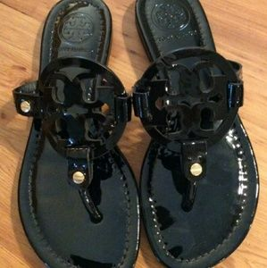 Tory Burch Sandals Miller Patent Leather Black